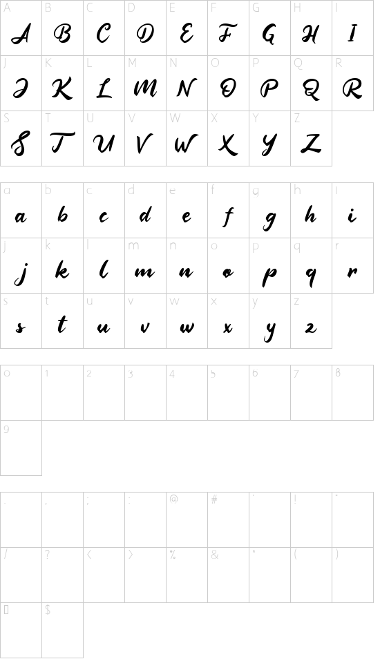 Nightland font character map