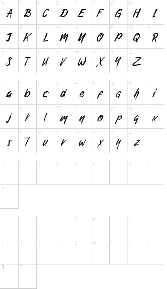 Nuttyclash demo font character map