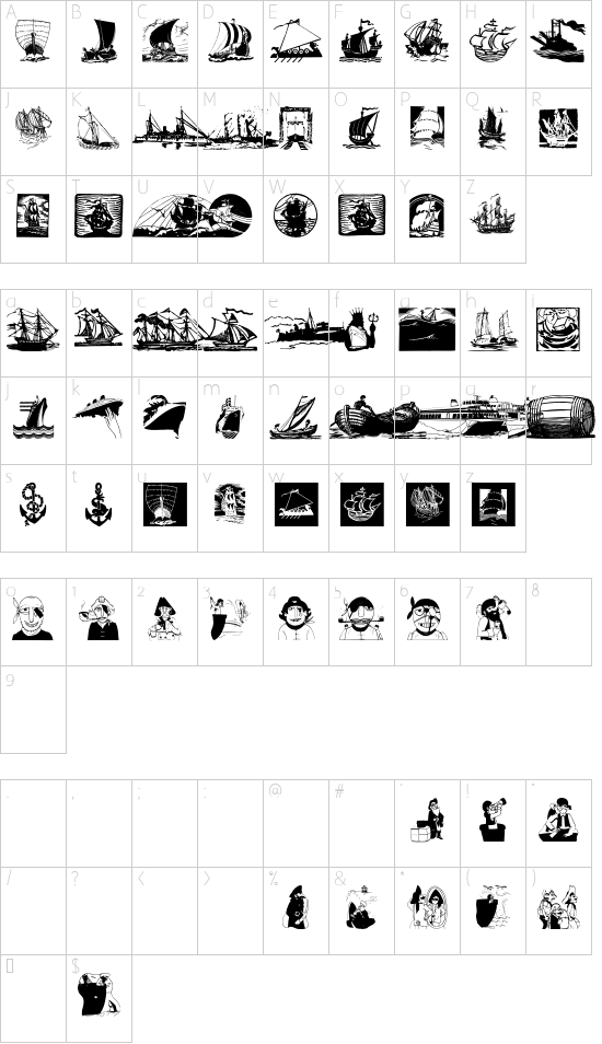 ShipsNBoats font character map