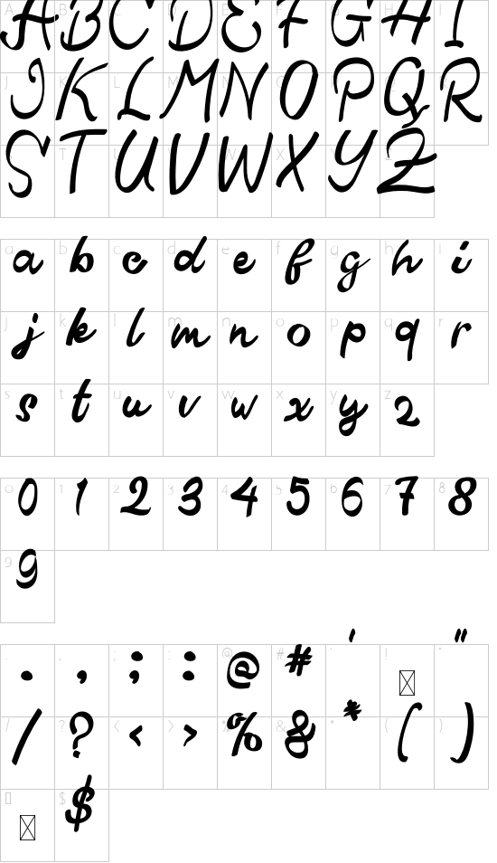 Qistis Blistist font character map