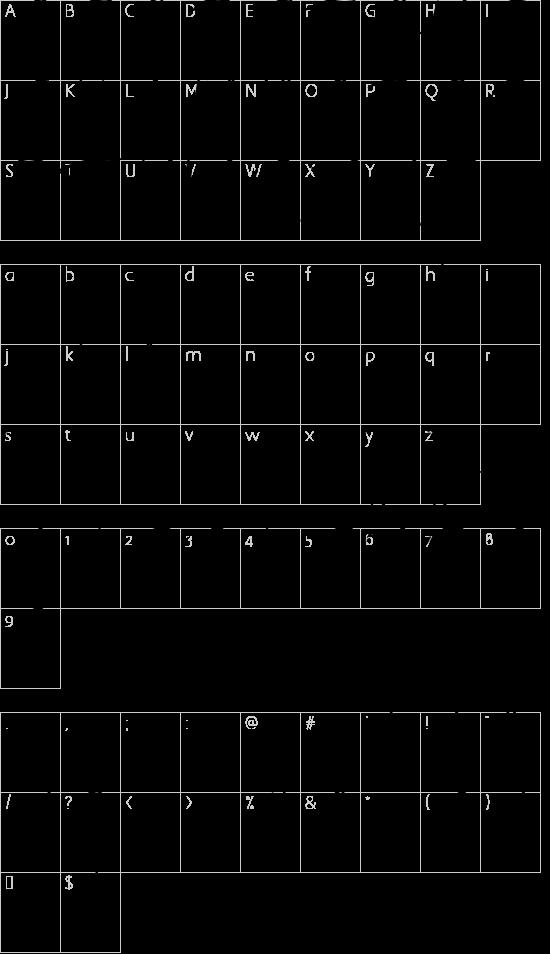 Quartila Regular font character map