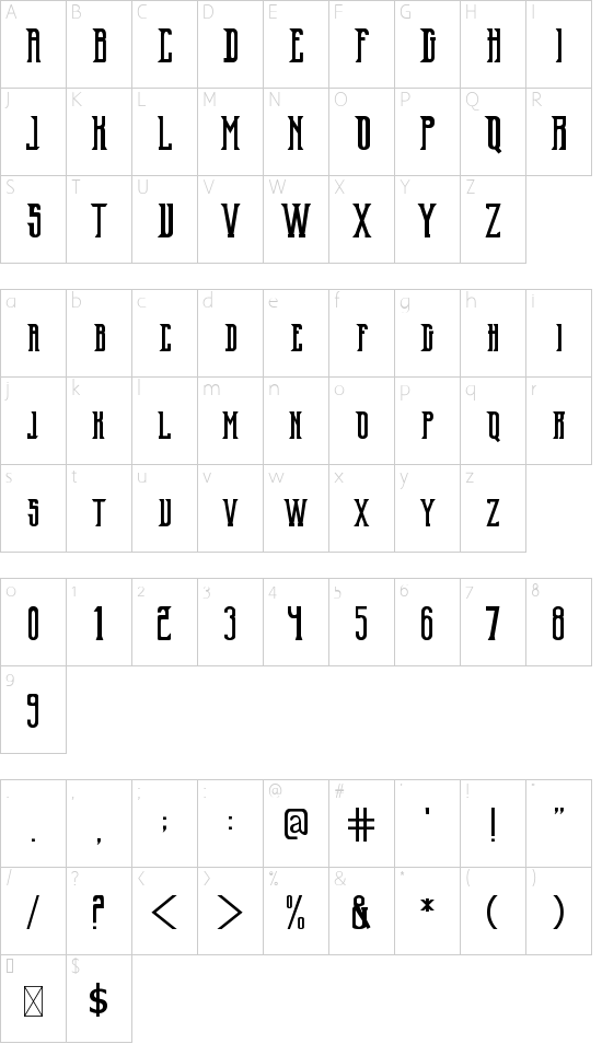 Old Excalibur font character map