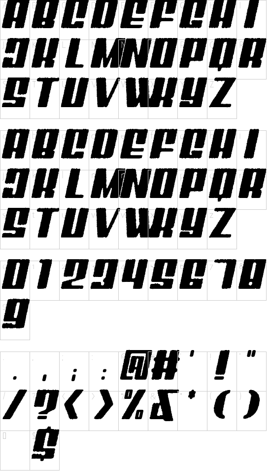 Mixbox Rough Italic Demo Rough Italic font character map