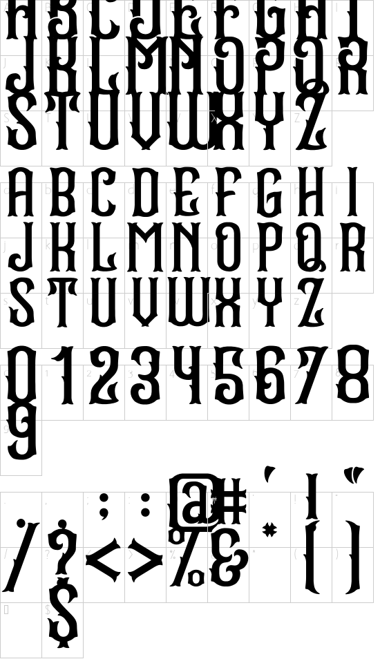 Stradas font character map