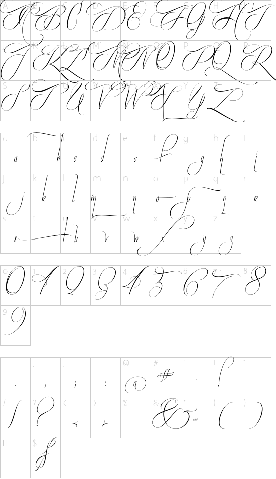 Quijote Sauvage Standard font character map
