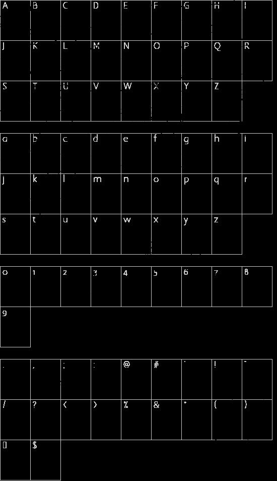 Valeria Script Cola Pen OT font character map