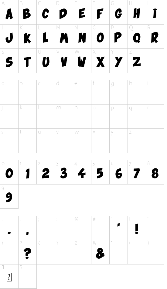 Ka Blam font character map