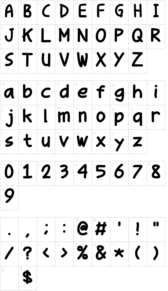 Parenda Pop Comic font character map