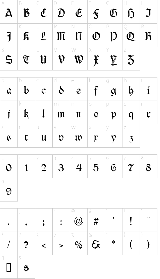 Durwent font character map
