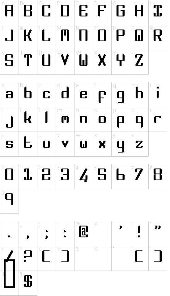 Zee Lance font character map