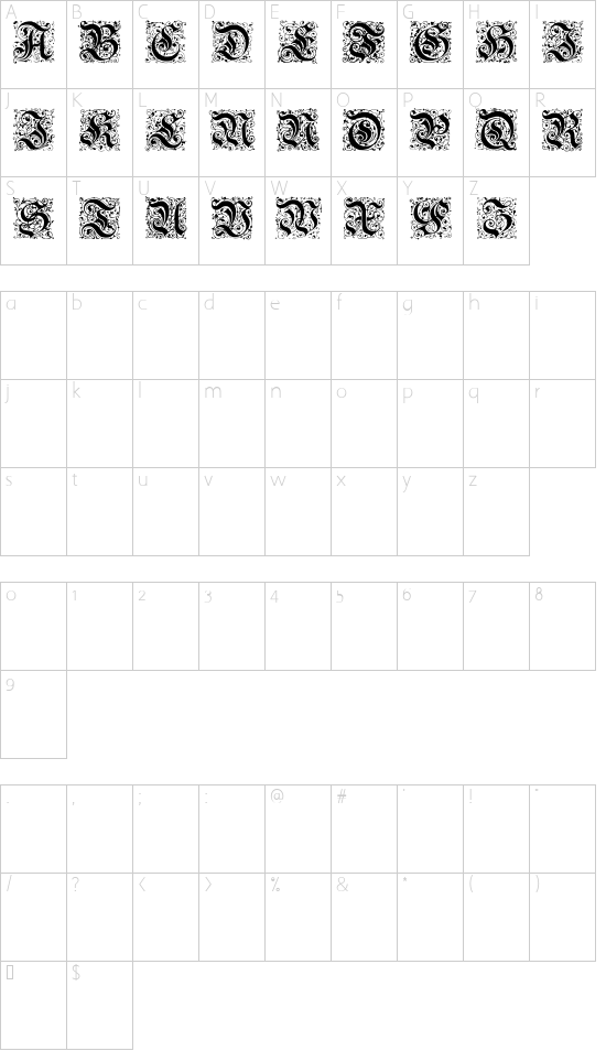 Parigee Initials Simple font character map