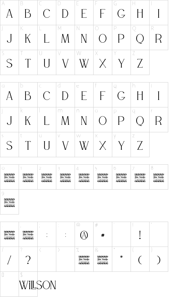 WILLSON Personal Use font character map