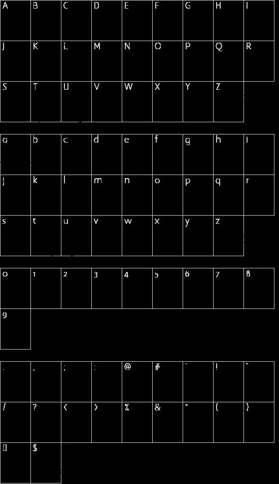 Deborah Extras/Ornaments font character map