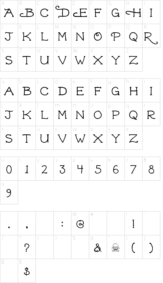 Dead Hardy font character map