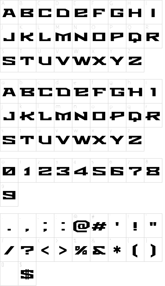 Metro font character map