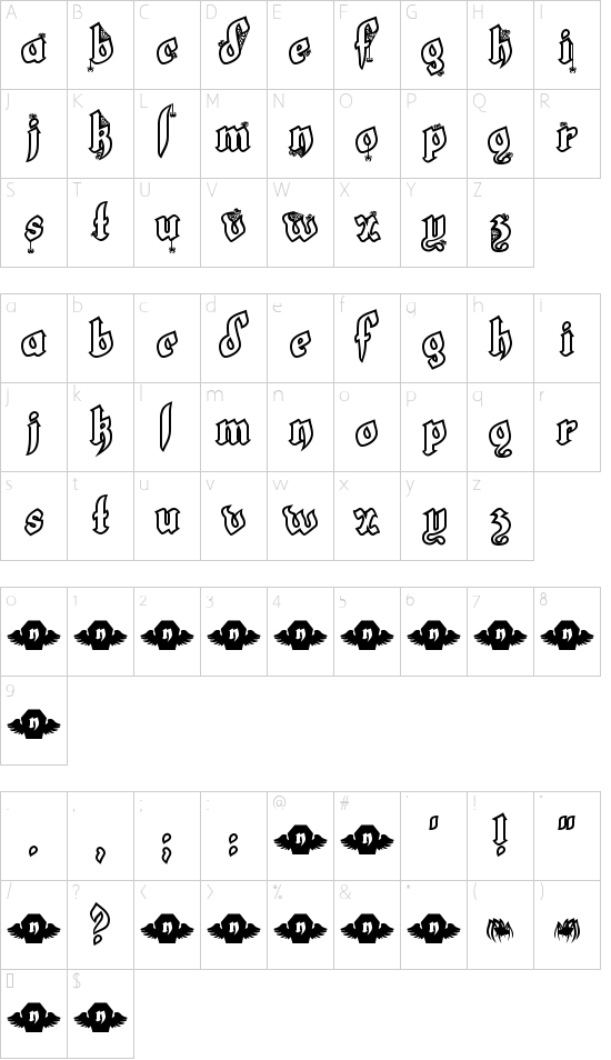 LT White Fang font character map