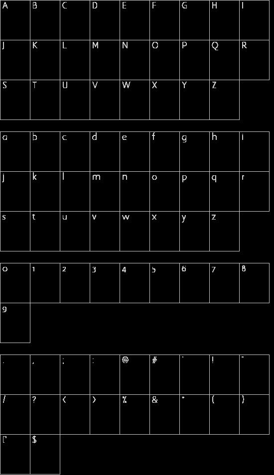 Highlander font character map