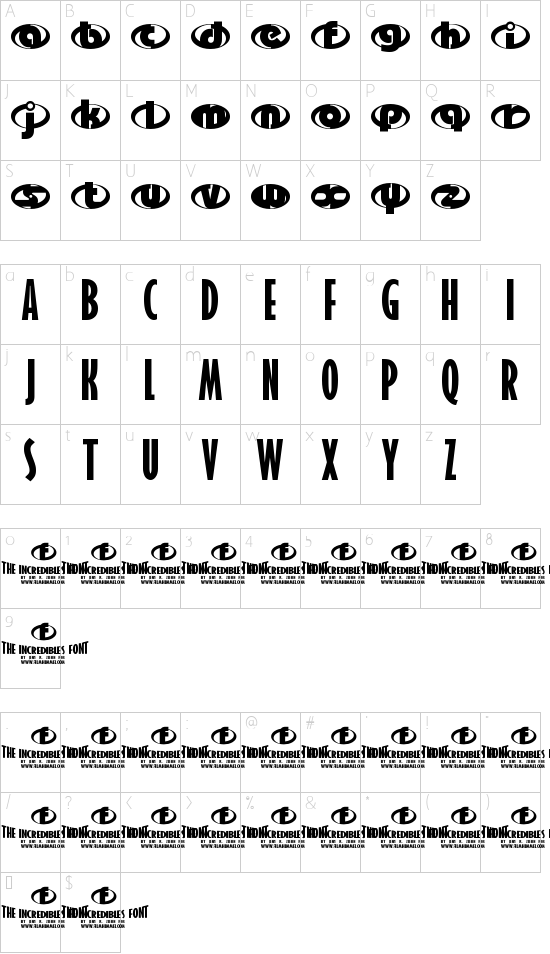 the Incredibles font character map