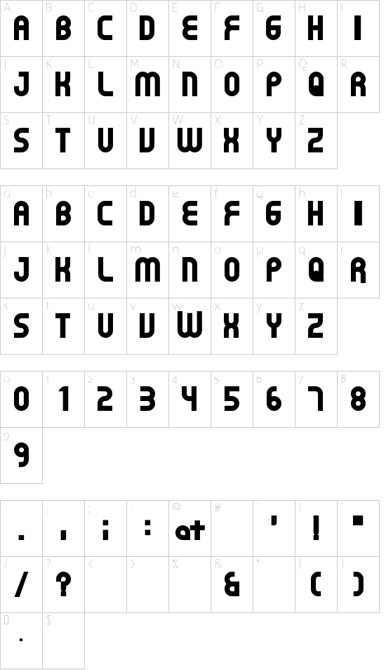 Gear Proportion font character map