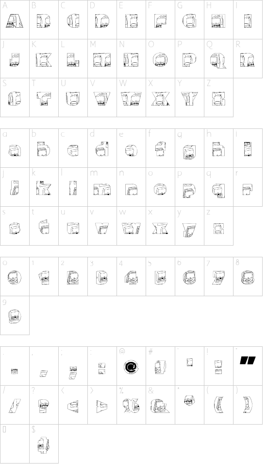 Monster boxes font character map