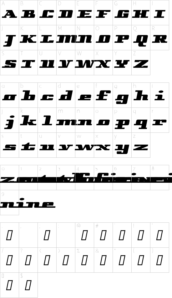 Remarcle font character map