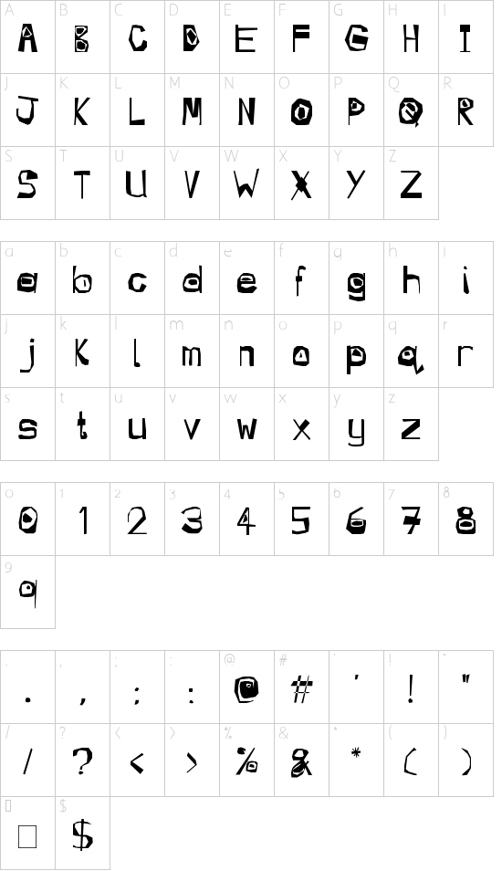 Manic font character map