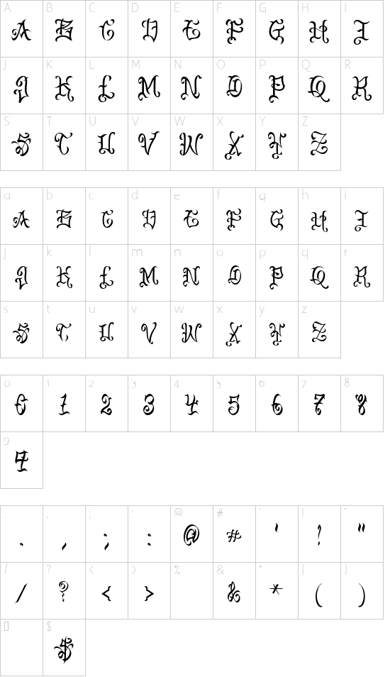 VTC-BadEnglischOne font character map