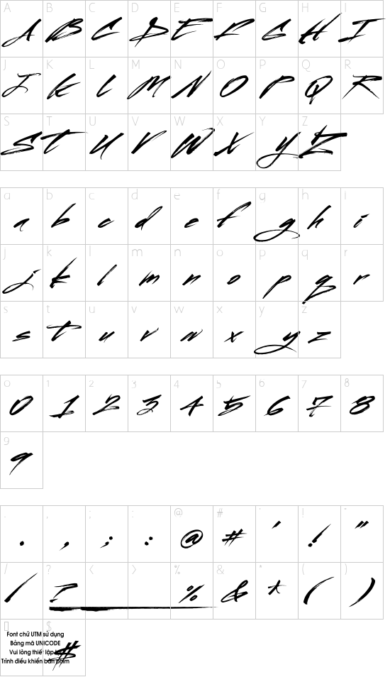 UTM Ong Do Tre font character map