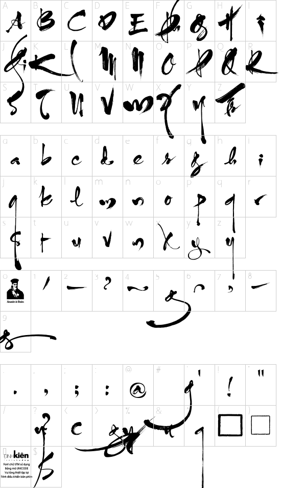 UTM ThuPhap Thien An font character map