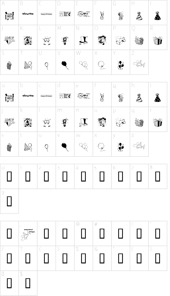 LCR Party Dings font character map