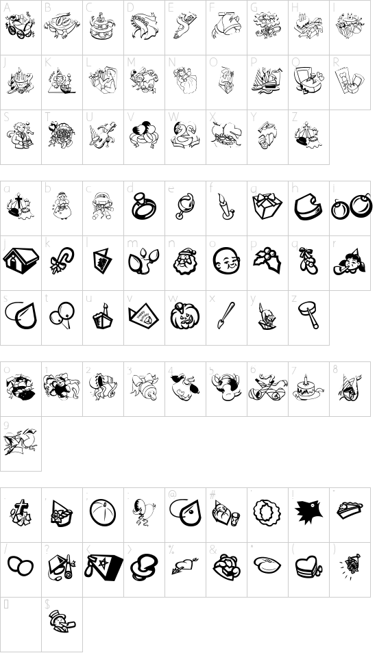 Occasiones font character map