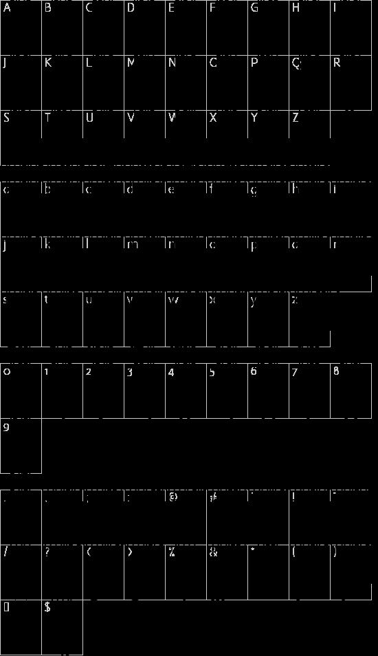 MRV Code39extMA font character map