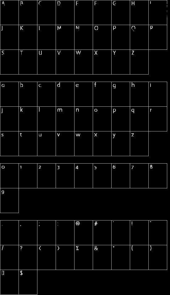 """Sangrael!"""" font character map"""