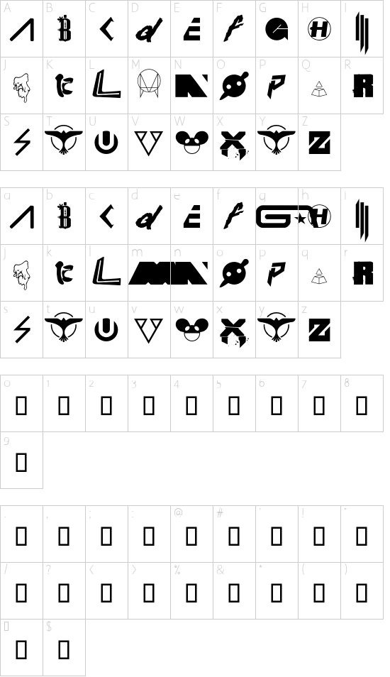Wub Machine Regular font character map