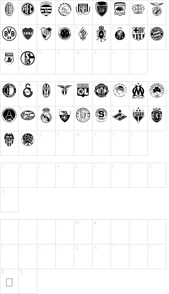 Clubz font character map