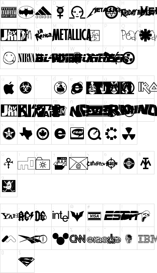 Famous Logos font character map