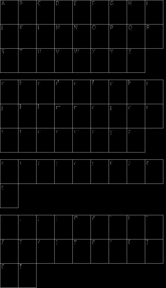 Camelot_Initials font character map