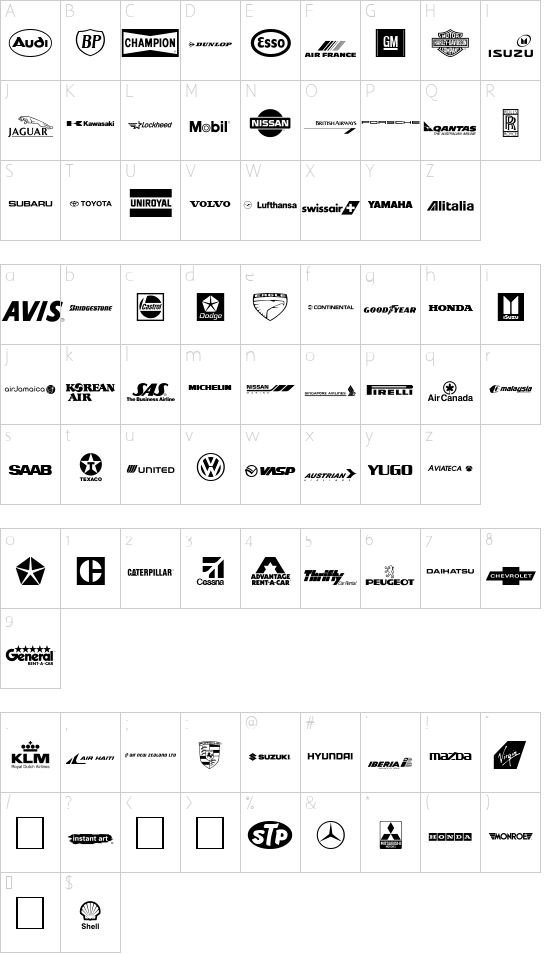 Transport font character map