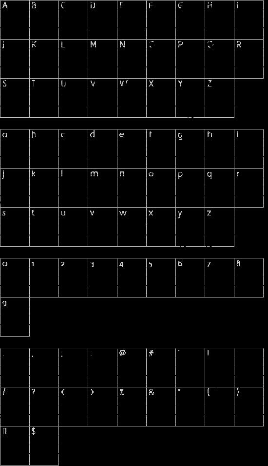 Cursif & Lignes font character map