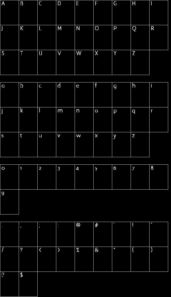 Tombstone Regular font character map