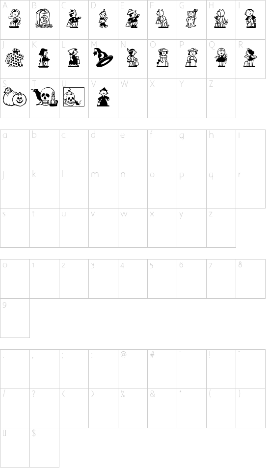 New font character map