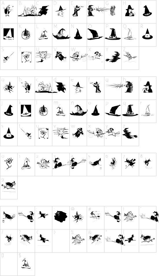 WitchesStuff font character map