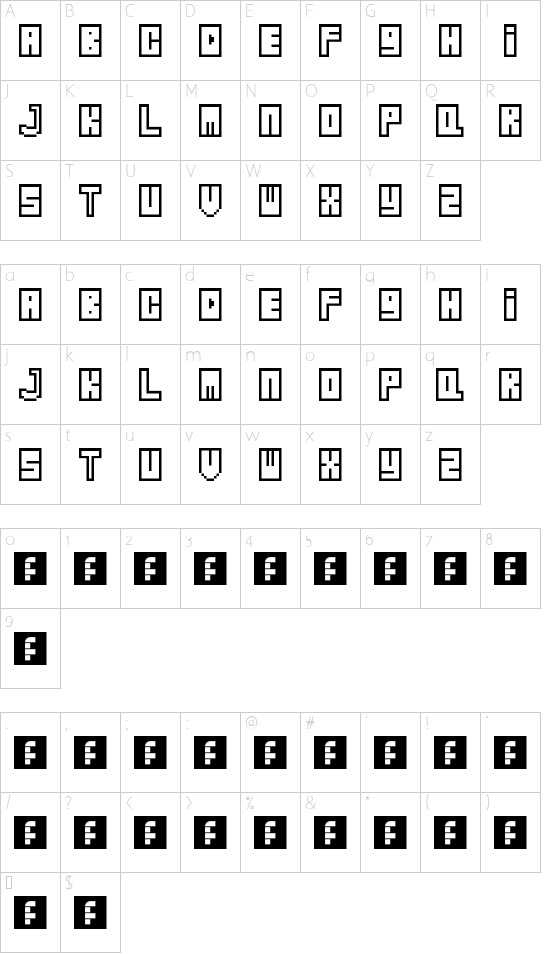 Zipper Regular font character map