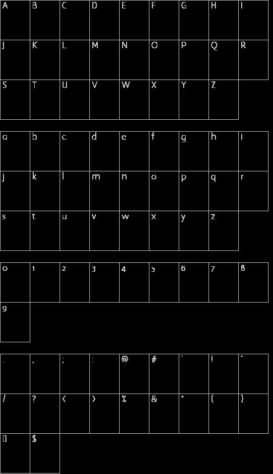 Three the Hard way shadowed font character map