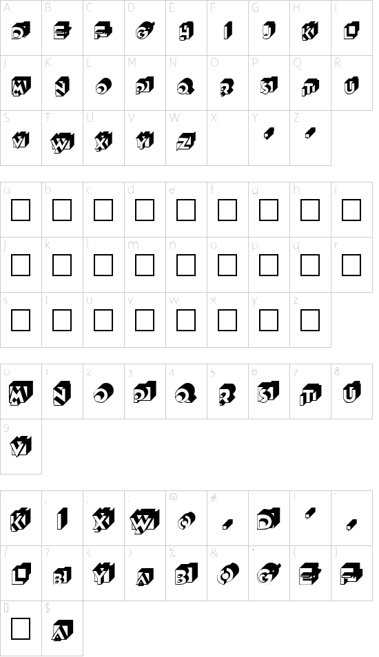 Qubist font character map
