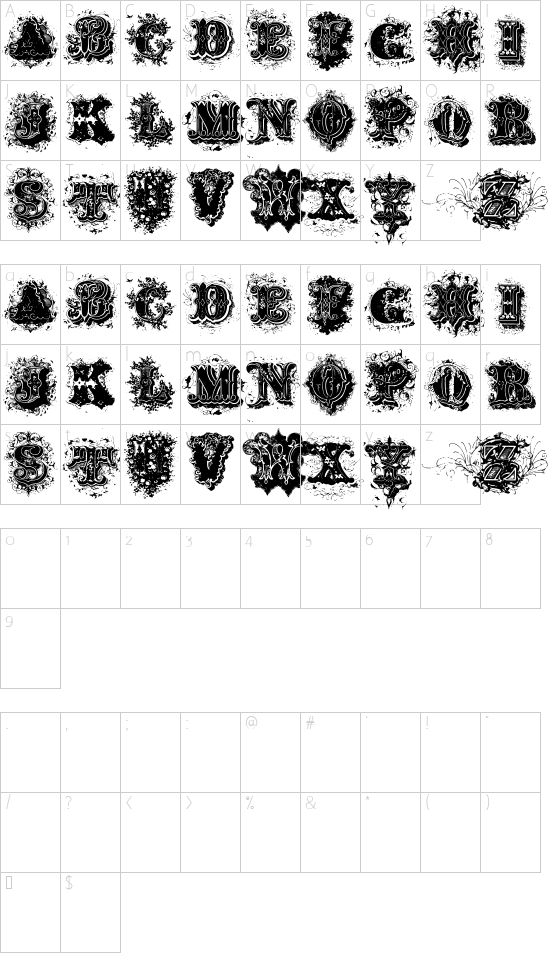 Dirty Ames Dirty Ames font character map