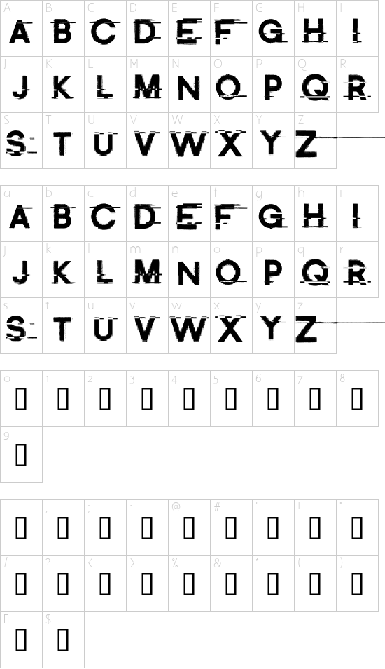 Distort Me Regular font character map