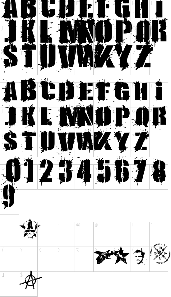 KRIPTON A font character map