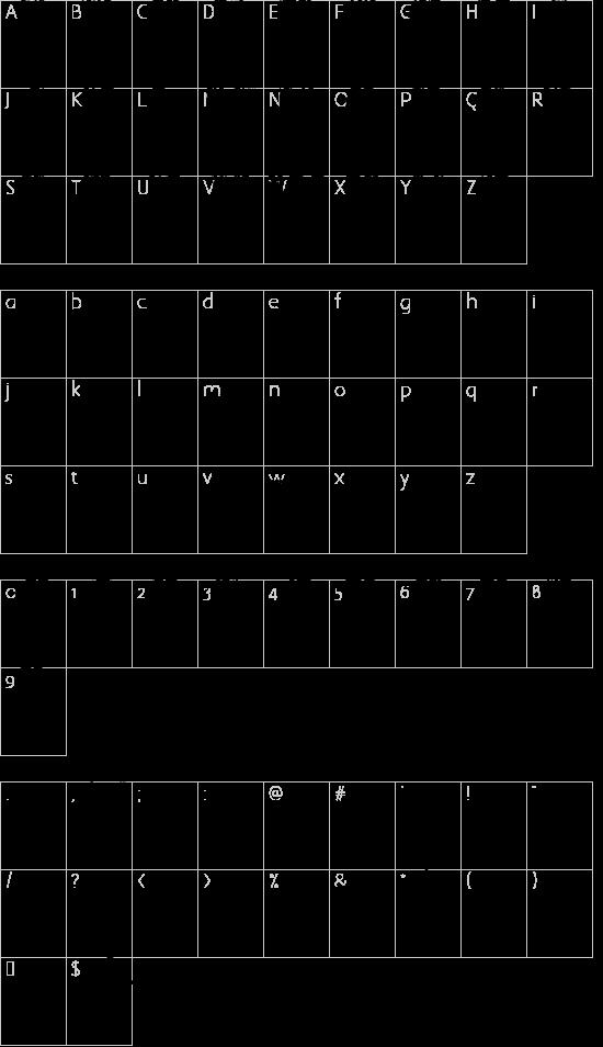 KRIPTON B font character map