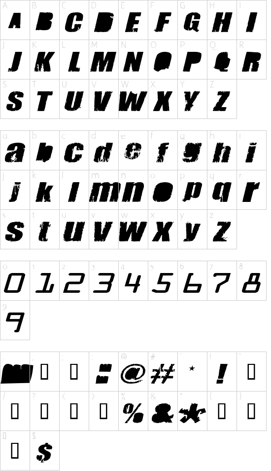 Meanies Thick font character map